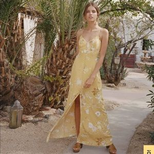 LULUS CRISTA YELLOW BUTTON FRONT MAXI DRESS